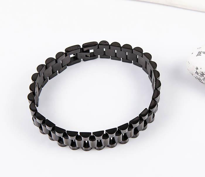 BM556 Широкий стальной браслет черного цвета фото 04