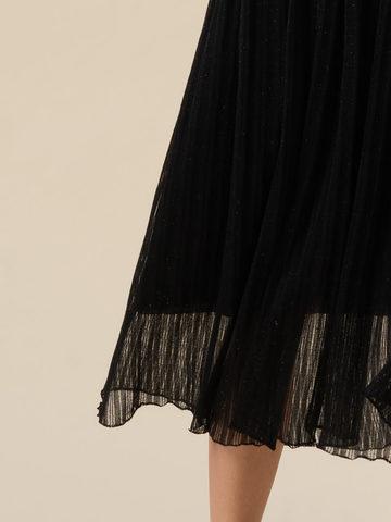Женская двухслойная юбка черного цвета из вискозы - фото 5