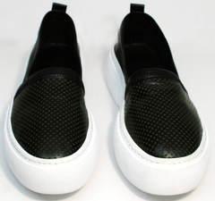 Слипоны с перфорацией женские Evromoda 457.024e White Black.