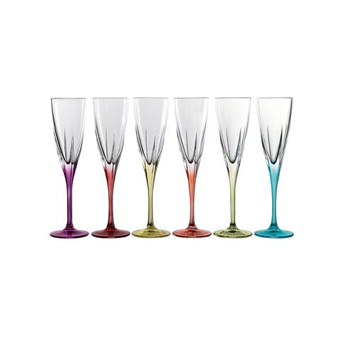 Набор фужеров 6 шт для шампанского RCR Fusion 170 мл, цветные