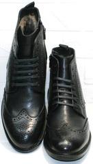 Классические высокие кожаные ботинки мужские  LucianoBelliniBC3801L-Black .