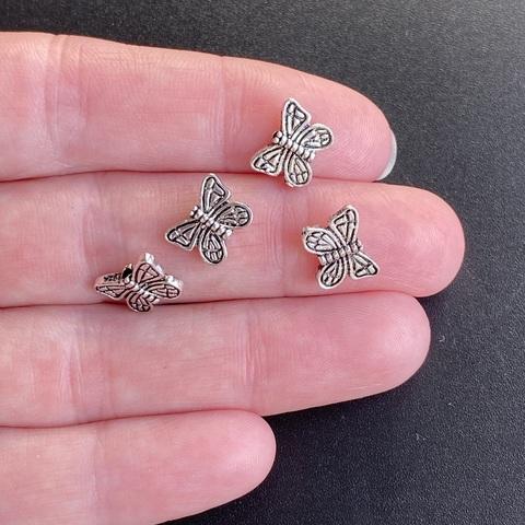 Бусина Бабочка 10х8 мм серебро 925
