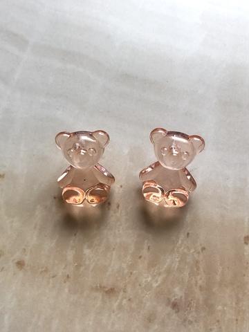 Серьги Медвежонок, персиковые