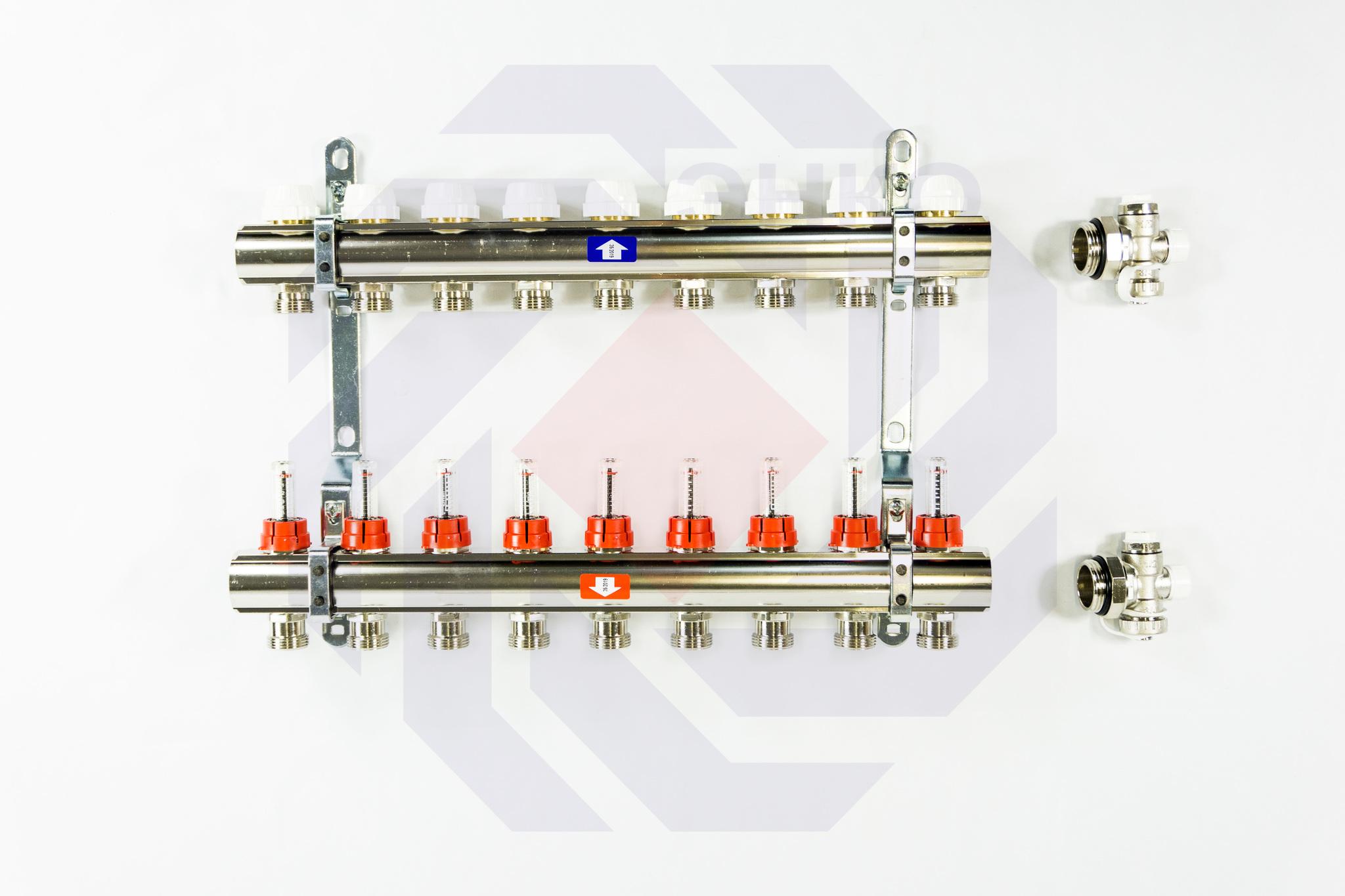 Комплект коллекторов с расходомерами ITAP 916C 9 контуров