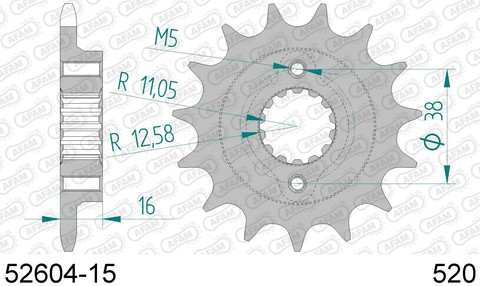 52604-15 звезда передняя DUCATI Monster, Supersport (ведущая) стальная, 520, AFAM (JTF736.15)