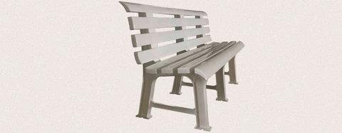Пластиковая скамья полимерная белая МРК