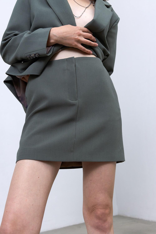 Юбка мини с гульфиком (костюмный твил), шалфей