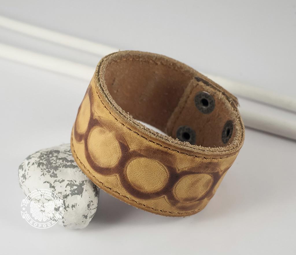 BL392-3 Кожаный браслет песочного цвета «Властелин Колец» на кнопках (17,5 -20 см) фото 04