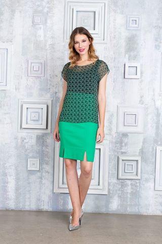 Фото зеленая прозрачная блуза с геометрическим принтом - Блуза Г674-578 (1)