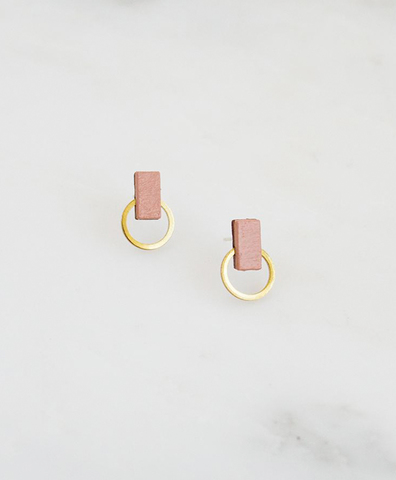 Серьги Orbit Studs in Blush