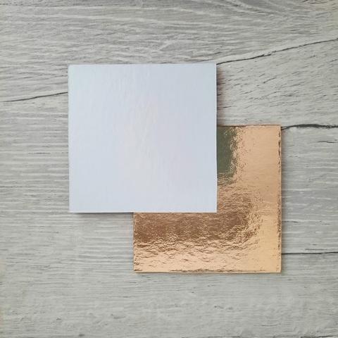 Подложка усиленная 1,5мм. (золото/белая) 8×8см. 1шт
