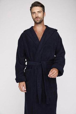 Мужской махровый халат с капюшоном 901 синий