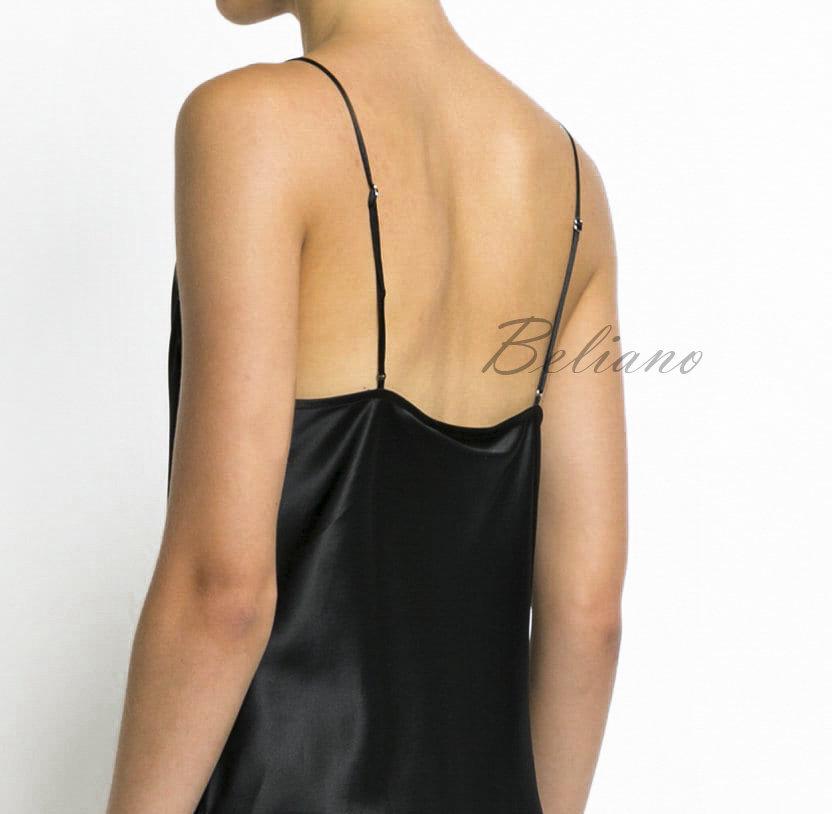 Шелковый базовый том черного цвета из натурального шелка. Вырез хомут