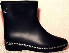 Резиновые сапоги модельные матовые женские Hello Rain Story 1019 Black