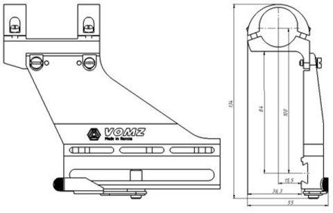 Кронштейн Тигр 25,4мм/ВОМЗ тип В3-1д