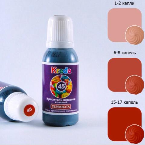 Краситель пищевой гелевый KREDA-S 45 ТЕРРАКОТА