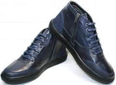 Низкие ботинки со шнуровкой осень зима мужские Luciano Bellini BC2802 L Blue.