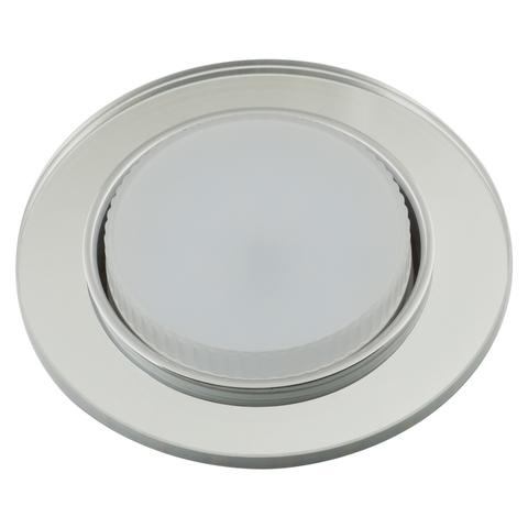 DLS-L159 GX53 CHROME/GLASSY Светильник декоративный встраиваемый, серия Luciole. Без лампы, цоколь GX53. Доп. светодиодная подсветка 4Вт. Металл/стекло. Хром/зеркальный. ТМ Fametto
