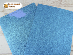 Фоамиран с блестками бирюзовый 2мм (уценка)