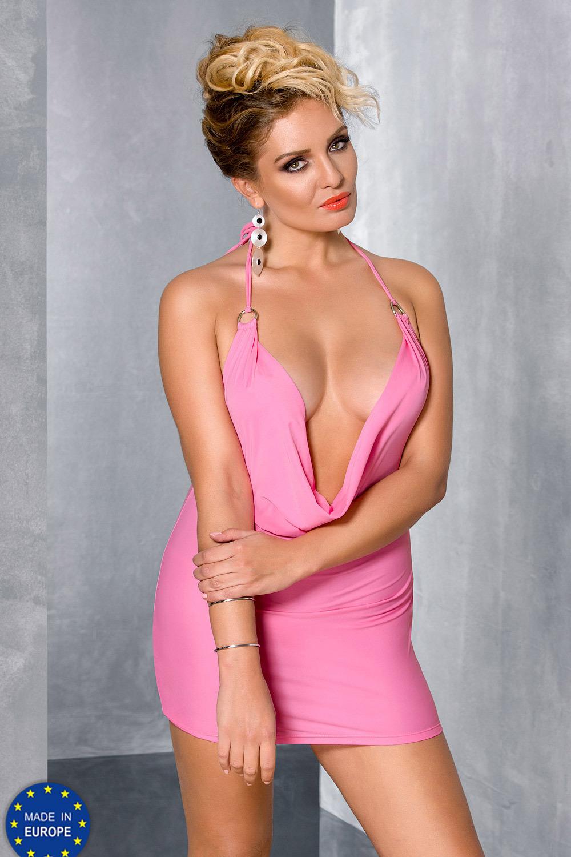 Эротическое мини-платье розовое для полных