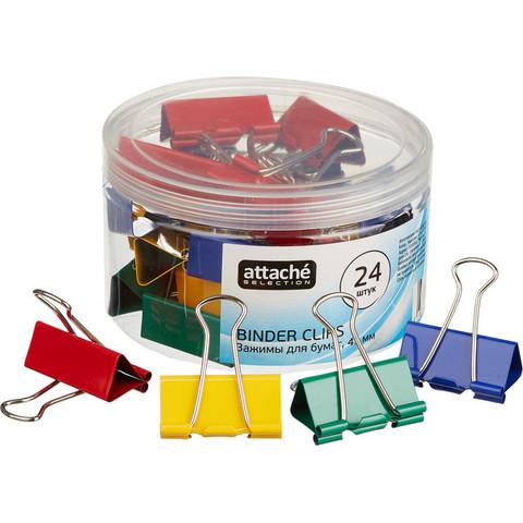 Зажимы для бумаг Attache Selection 41 мм цветные (24 штук в упаковке)