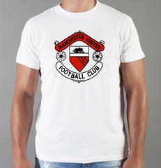 Футболка с принтом FC Manchester United (ФК Манчестер Юнайтед) белая 0014