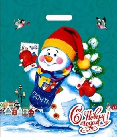Пакет новогодний с вырубной ручкой 40х47+6 (45)  (Снеговичок) 50 шт Россия