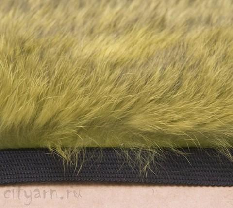Меховая лента из кролика на прочной тесьме, жёлто-зелёная, ширина 2.5 см