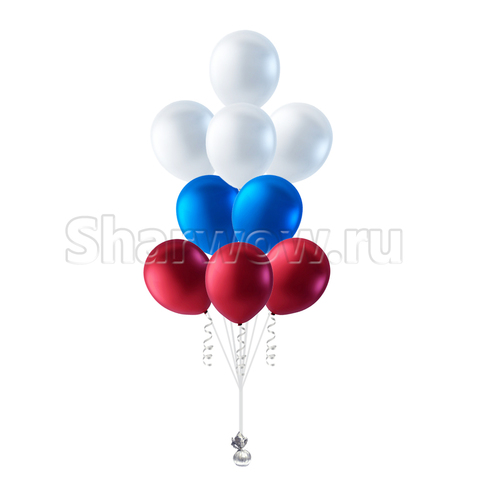 фонтан шаров цвета флага россии триколор