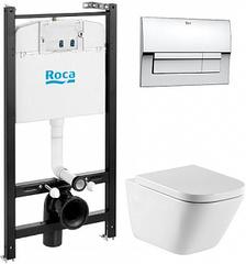 Комплект Roca GAP инсталляция, подвесной унитаз, кнопка, сиденье