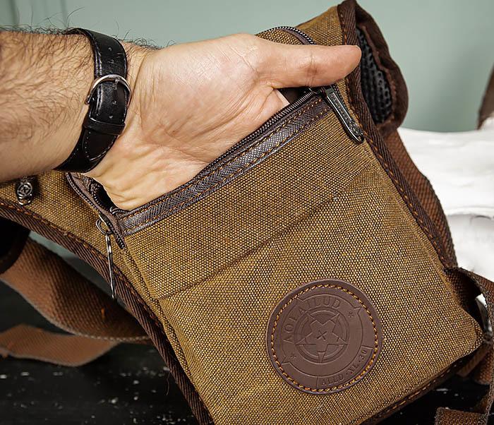 BAG509-2 Сумка на бедро из ткани с несколькими отделениями фото 06