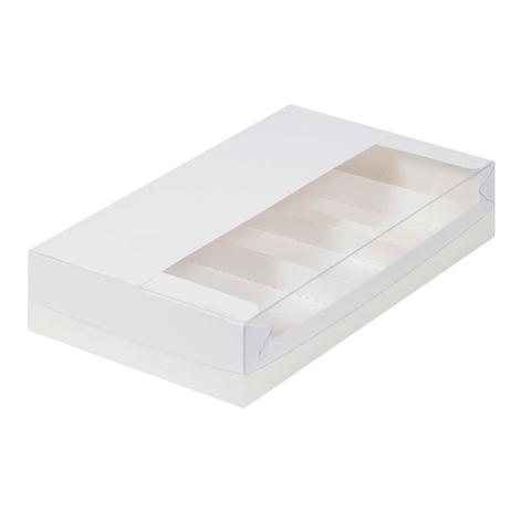 Коробка для эклеров и эскимо с пластиковой крышкой, 25*15*5см (белая)