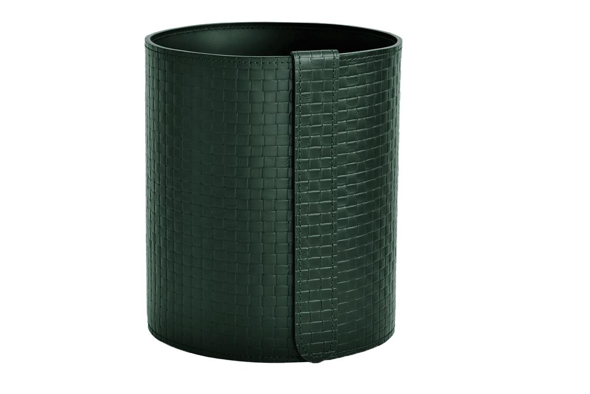 зеленая корзина из кожи intrecciato