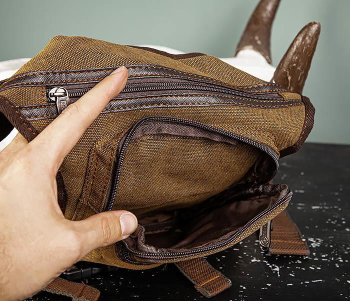 BAG509-2 Сумка на бедро из ткани с несколькими отделениями фото 07