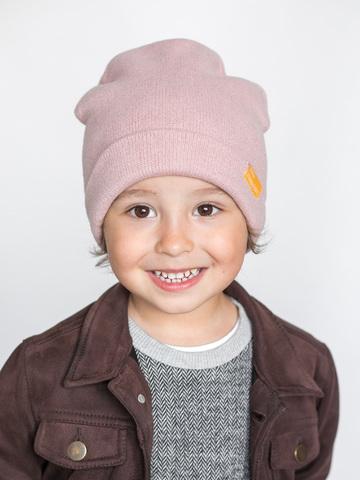 детская шапка из итальянской шерсти пудровая