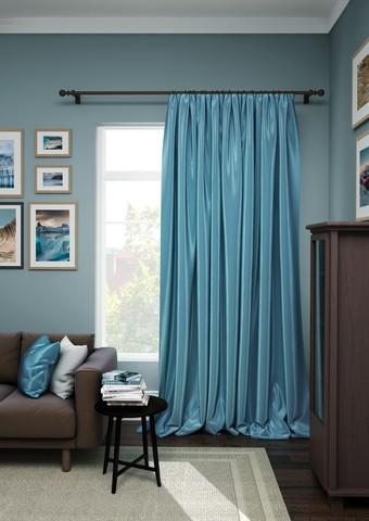Готовая штора сатен Авери с подхватом синий