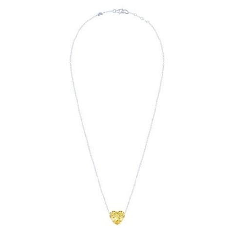 4867 -Колье HEART из серебра с желтым цирконом в огранке в форме сердца