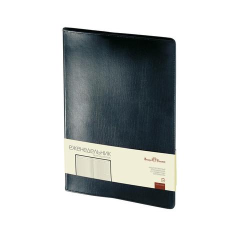 Еженедельник недатированный Bruno Visconti Profy натуральная кожа А4 64 листа черный (222x302 мм)