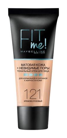 Maybelline Fit Me тональный крем матовая кожа + невидимые поры №121 кремово-розовый