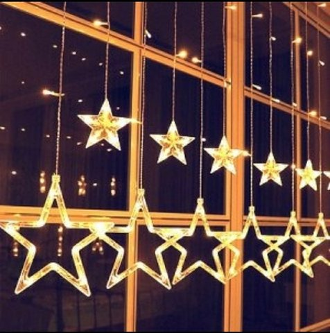 Гирлянда шторы Звезды 3 м желтая