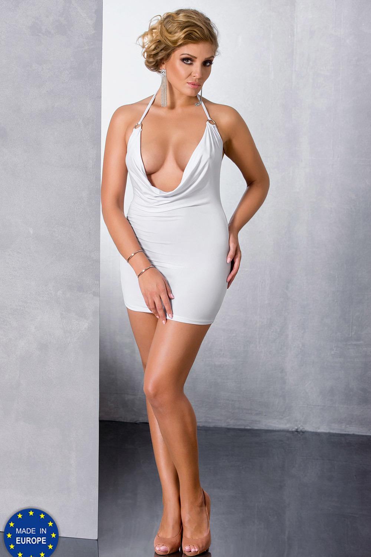 Мини-платье сексуальное белое для полных