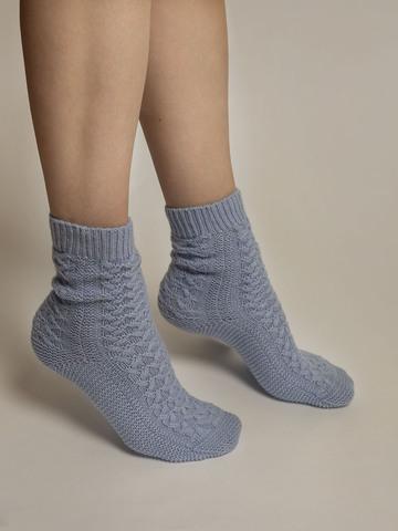 Женские носки голубого цвета из 100% кашемира - фото 3