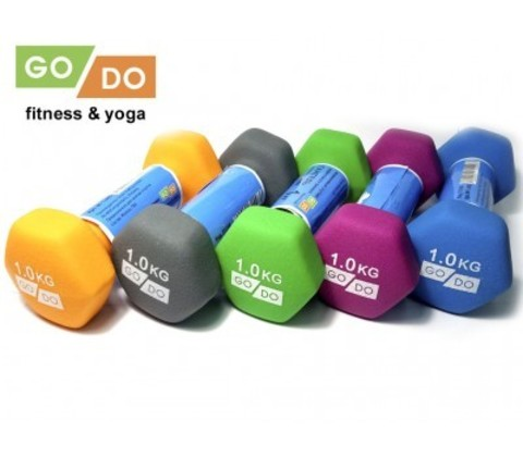 Гантель GO DO в виниловой матовой (неопреновой) оболочке.  Вес 1 кг. (Фиолетовый), пара (Спр) (31558-400x350)