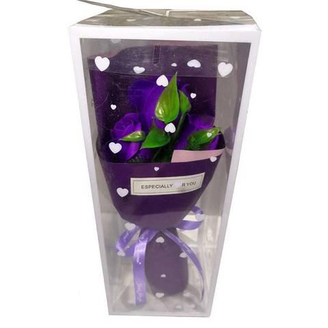 Букет из трёх мыльных роз фиолетовый