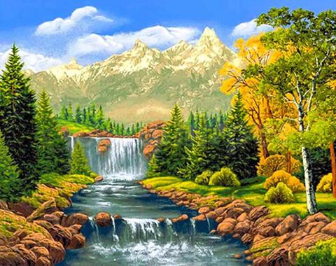 Алмазная Мозаика 40x50 Горный водопад (арт. MТС3381 )