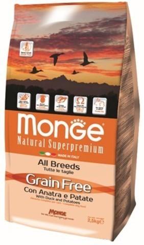 Купить Monge Dog GRAIN FREE ALL BREEDS беззерновой корм для собак всех пород с уткой и картофелем