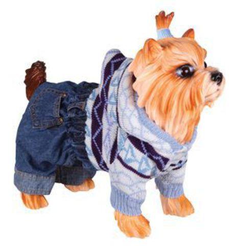 5615040 DEZZIE Свитер д/собак вязаный с капюшоном+синие джинсовые шорты, 20см