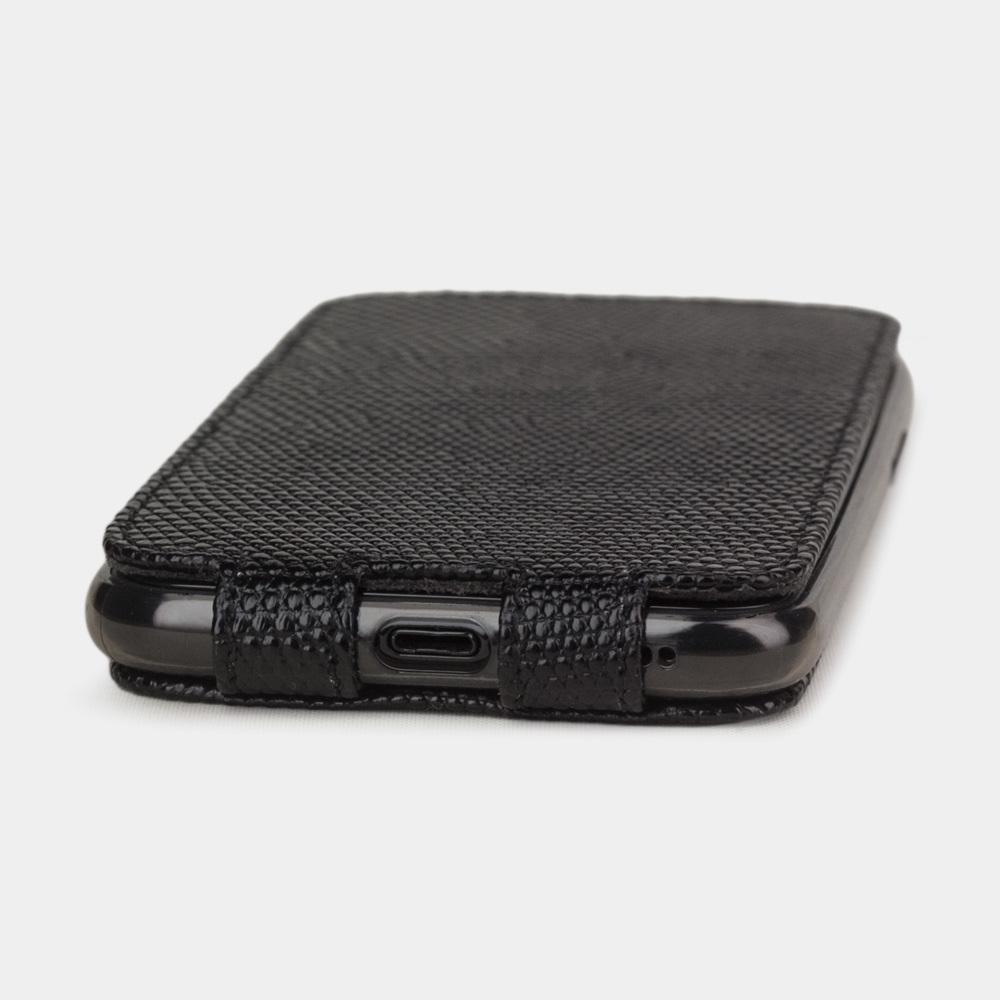 Чехол для iPhone XS Max из натуральной кожи ящерицы, черного цвета
