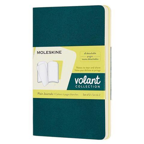 Блокнот Moleskine VOLANT QP713K31M20 Pocket 90x140мм 80стр. нелинованный мягкая обложка зеленый/желтый цитрон (2шт)