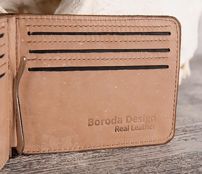 WB157 Зажим для купюр из яркой кожи, ручная работа, «Boroda Design» фото 04